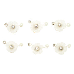 Silver Crystal Pearl Flower Hair Spinners - White , 6 Pack,