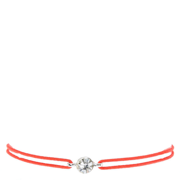Red Double Stretch Bracelet with Faux Crystal Charm,