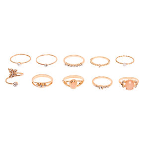 Rose Gold Embellished Romance Rings - Blush Pink, 10 Pack,