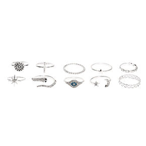 Silver Mystical Chic Rings - 10 Pack,