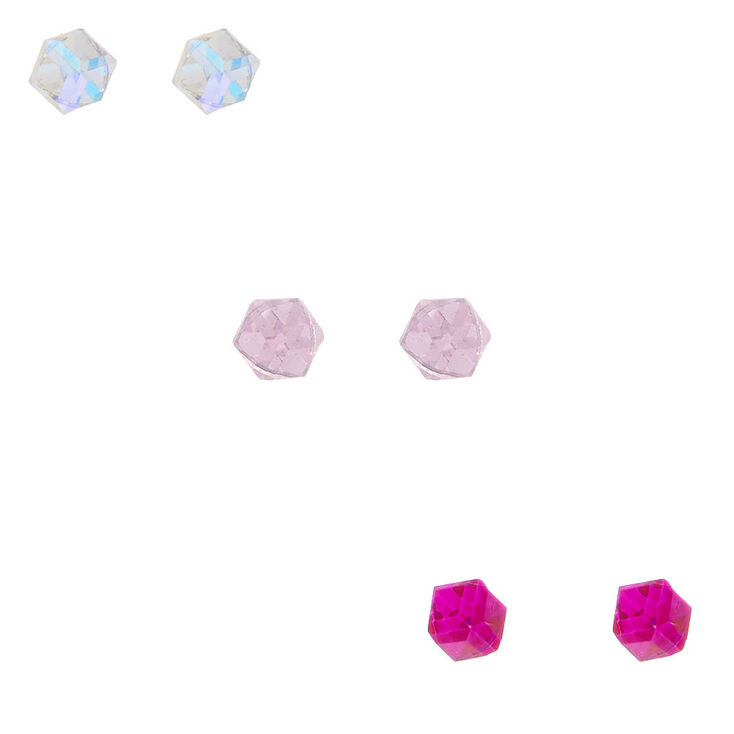Sterling Silver Iridescent Cube Stud Earrings - Pink, 3 Pack,