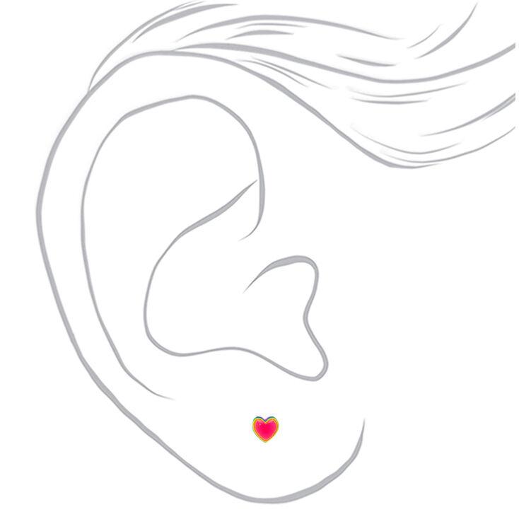 Sterling Silver Neon Rainbow Heart Stud Earrings,