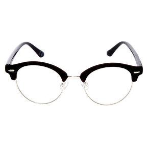 Velvet Browline Clear Lens Frames - Black,