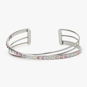 Silver Pastel Embellished Criss Cross Cuff Bracelet,