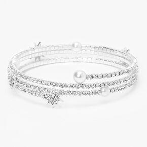 Silver Embellished Pearl Starburst Wrap Bracelet,