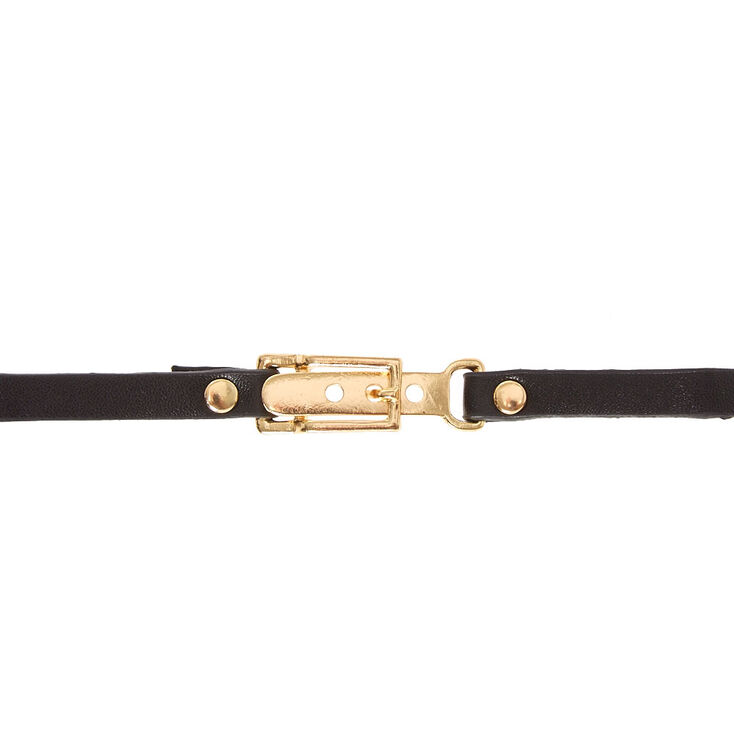 Gold & Black Belt Choker Necklace,
