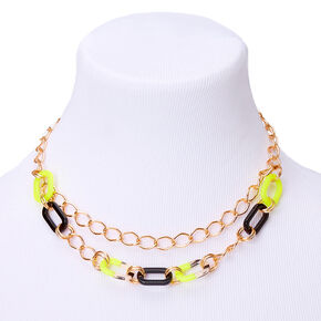 Gold Chain Statement Necklace - Neon Yellow,
