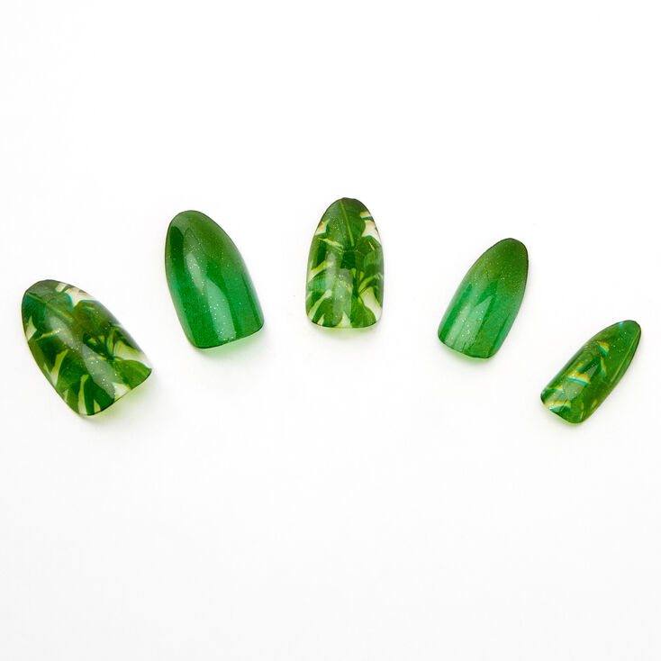 Green Palm Leaves Stiletto Faux Nail Set - 24 Pack,
