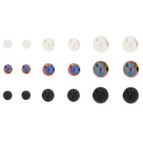 9 Pack Graduated Ball Stud Earrings,