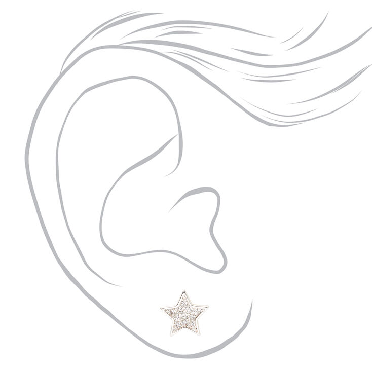 Silver Cubic Zirconia Star Stud Earrings,