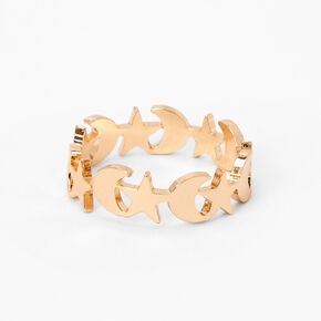 Gold Celestial Moon and Stars Ring,