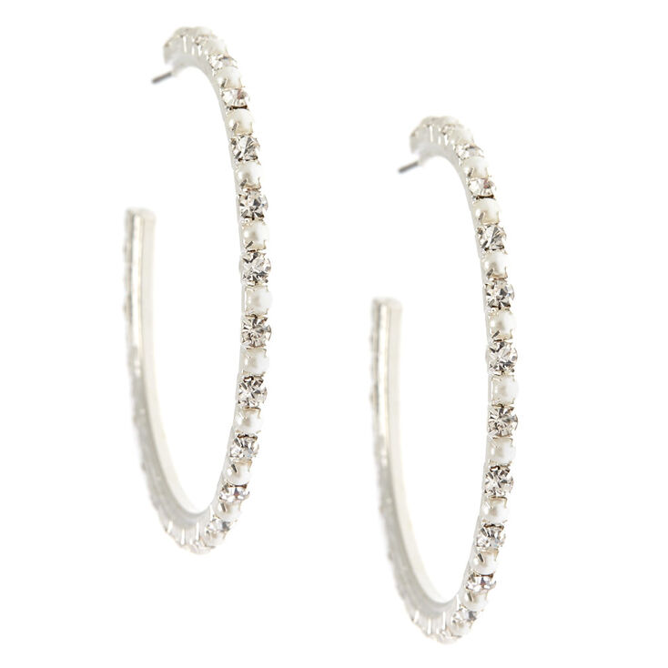 Crystal And Glass Pearl Hoop Earrings