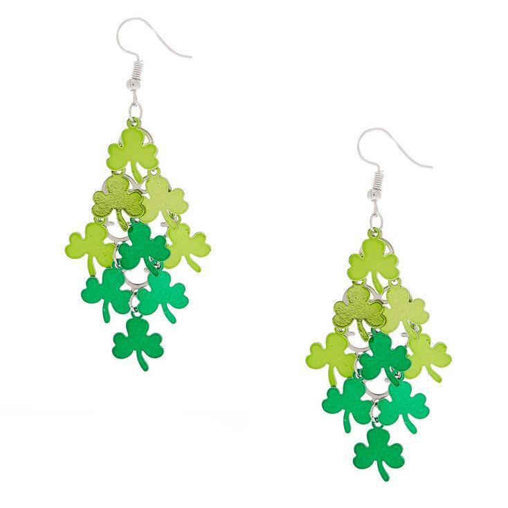 """Silver 2.5"""" Shamrock Chandelier Drop Earrings - Green,"""