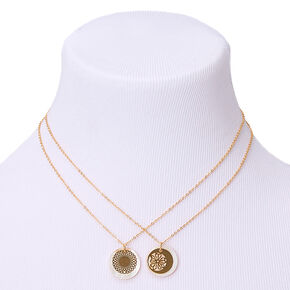 Gold Filigree Shine Pendant Necklaces - 2 Pack,