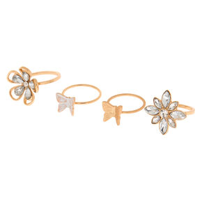 Gold Garden Party Rings - 4 Pack,