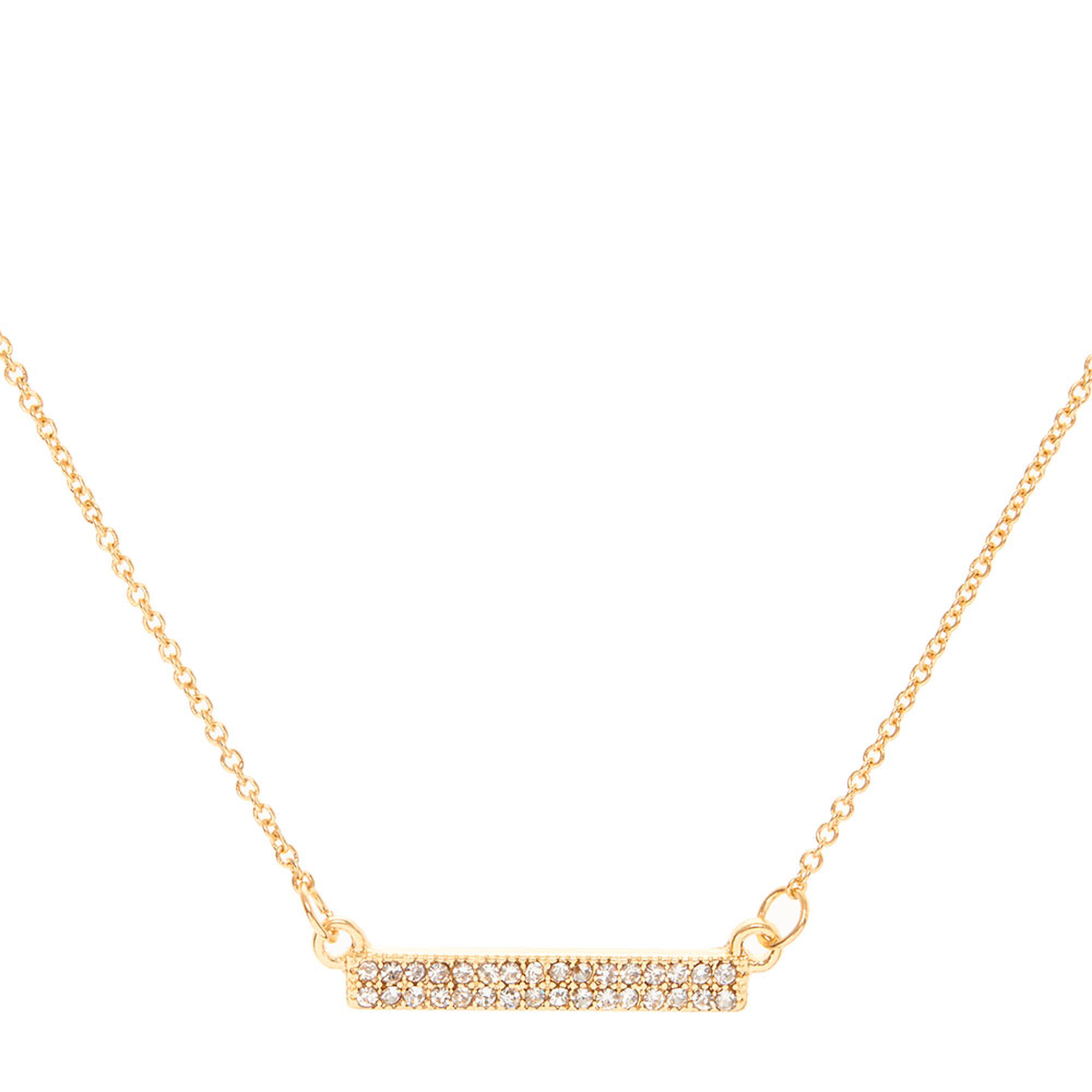 mini us bar gold necklace pave crystal icing