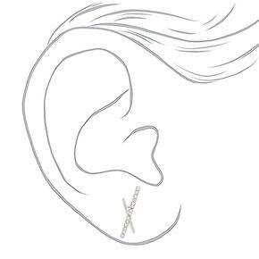 Silver Bar Stud Earrings - 3 Pack,