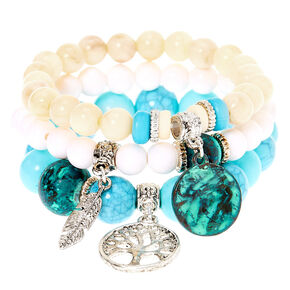Natural Bead Stretch Bracelets - 3 Pack,