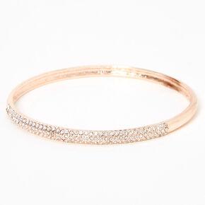 Rose Gold Pave Rhinestone Bangle Bracelet,