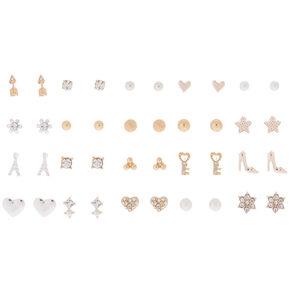 Mixed Metal Stud Earrings - 20 Pack,