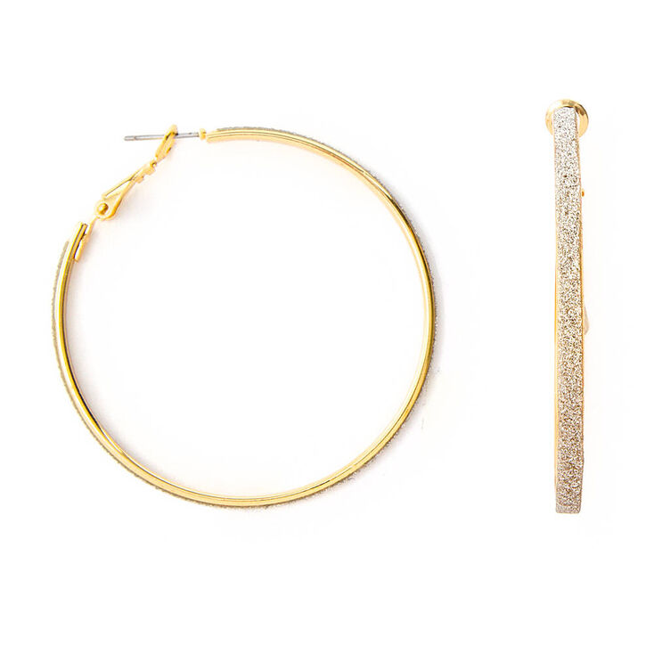 Thin Gold & Silver Glitter Band Hoop Earrings,