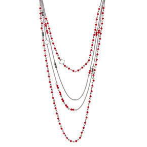Hematite Bead Multi Strand Necklace - Red,