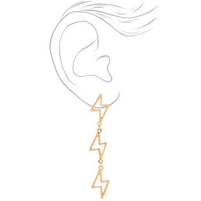 "Gold 2.5"" Lightning Bolt Drop Earrings,"