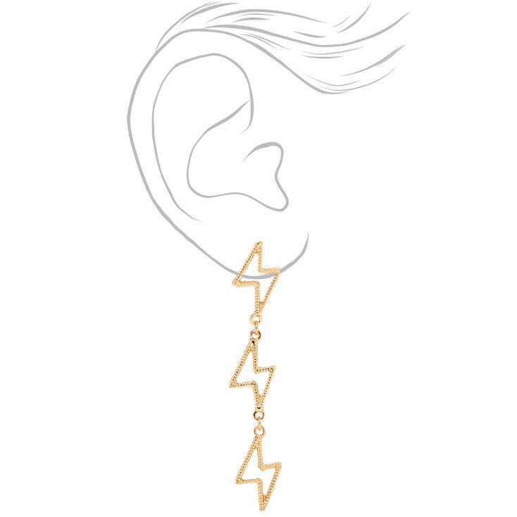 "Gold 2.5"" Lightning Bolt Drop Earrings,"