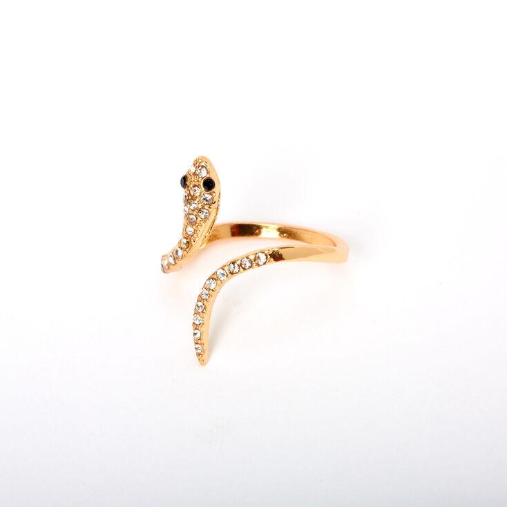 Gold Embellished Snake Wrap Ring,