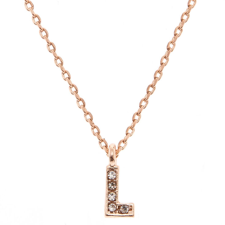"""Rose Gold Studded """"L"""" Initial Necklace,"""