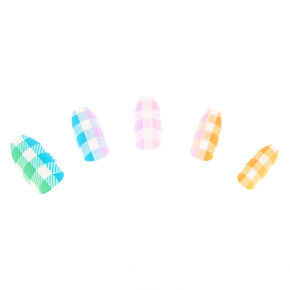 Pastel Plaid Faux Nail Set - 24 Pack,