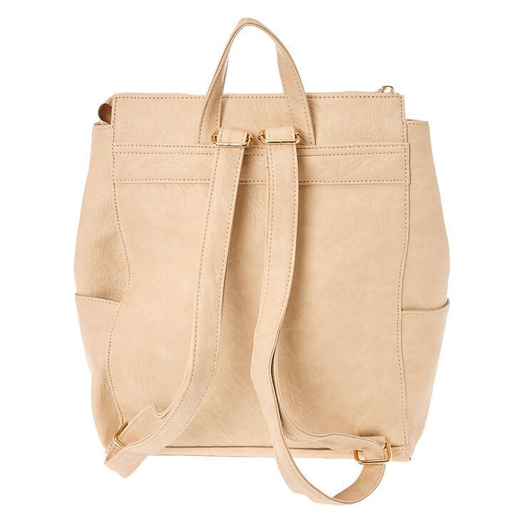 Faux Leather Square Medium Backpack - Nude,