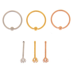 Mixed Metal 20G Star Stud & Hoop Nose Rings - 6 Pack,