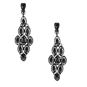 "2.5"" Chandelier Clip On Drop Earrings - Black,"