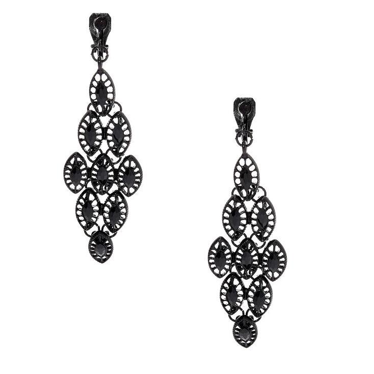 """2.5"""" Chandelier Clip On Drop Earrings - Black,"""