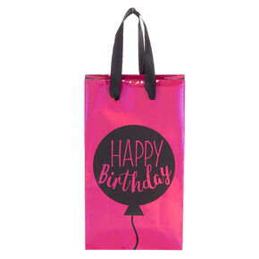 Extra Small Holographic Happy Birthday Gift Bag - Pink,