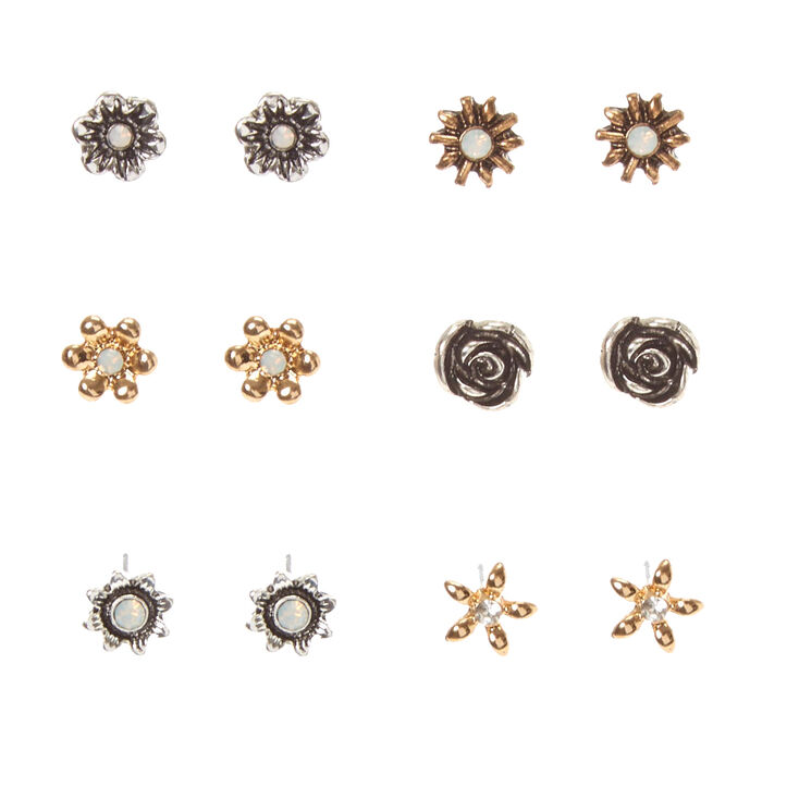 Burnished Mixed Metal Flower Stud Earrings,