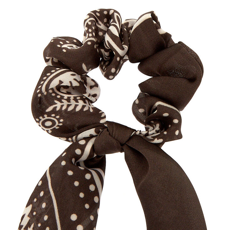 Small Paisley Hair Scrunchie Scarf - Charcoal,