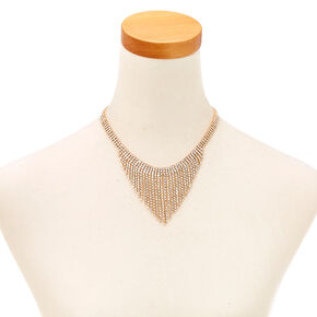 Gold Tone & Faux Crystal Fringe Earrings & Necklace Set,