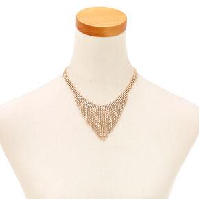Gold Tone & Faux Crystal Fringe Earrings & Necklace Set,