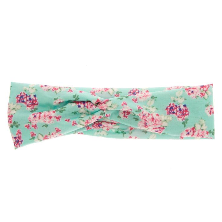 Mint Roses Wide Jersey Headwrap,