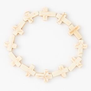 Cross Stretch Bracelet - White,