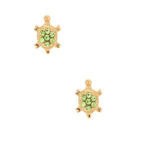 18kt Gold Plated Crystal Turtle Stud Earrings - Green,