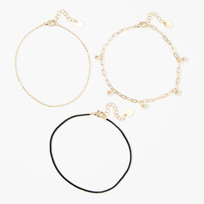 Gold Daisy Chain Anklets - 3 Pack,