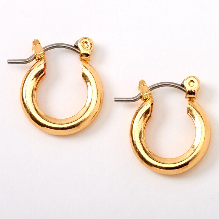 Gold 10MM Tube Hoop Earrings,