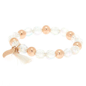 Rose Gold Beaded Stretch Bracelet - Clear,