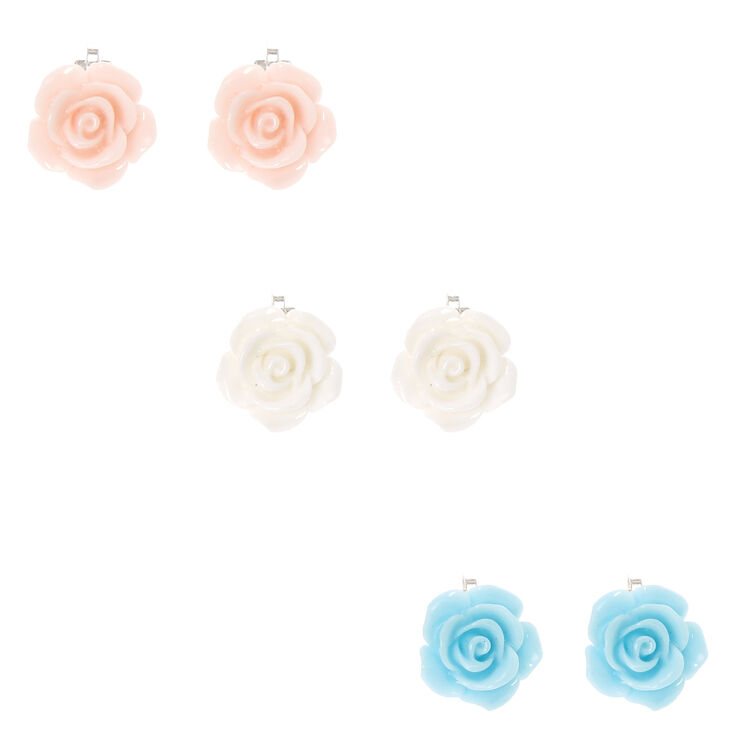 Pastel Carved Roses Clip-on Earrings,