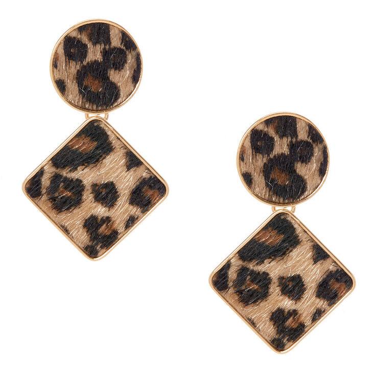 """Gold 2"""" Geometric Fuzzy Leopard Drop Earrings,"""