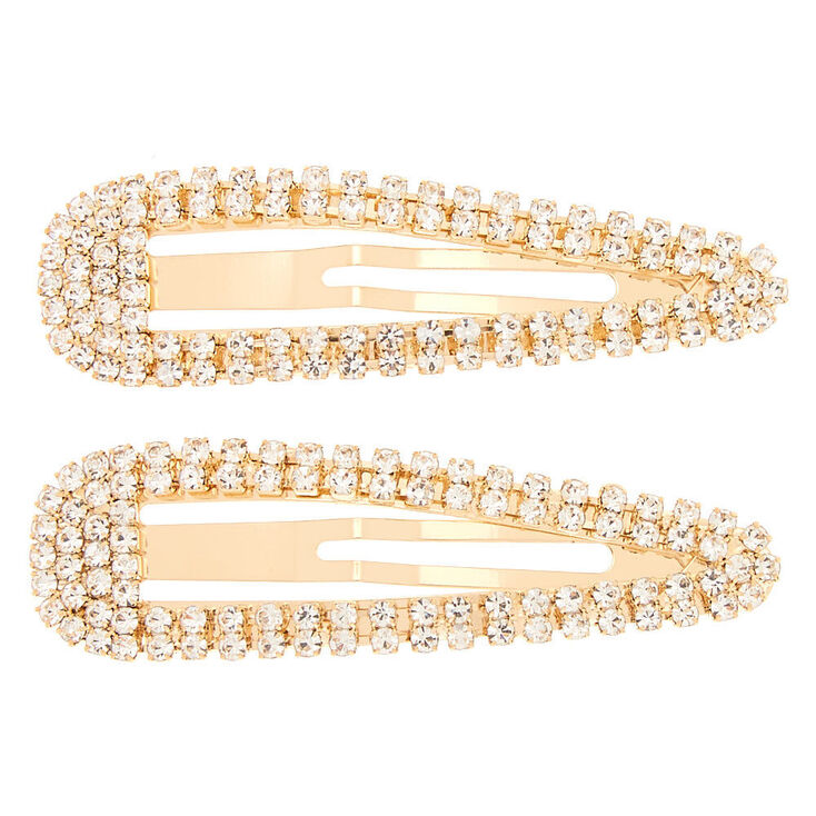 Gold Rhinestone Snap Clips - 2 Pack,