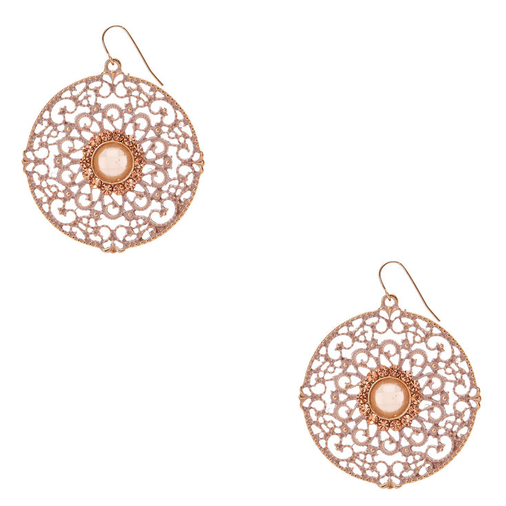 Gold Tone Pink Patina Filigree Circle Drop Earrings,
